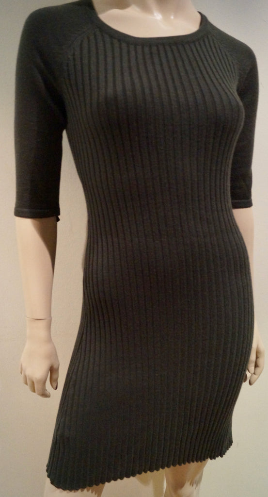 MARC NEW YORK ANDREW MARK Womens Khaki Wool Blend Chunky Rib Knit Jumper Dress S