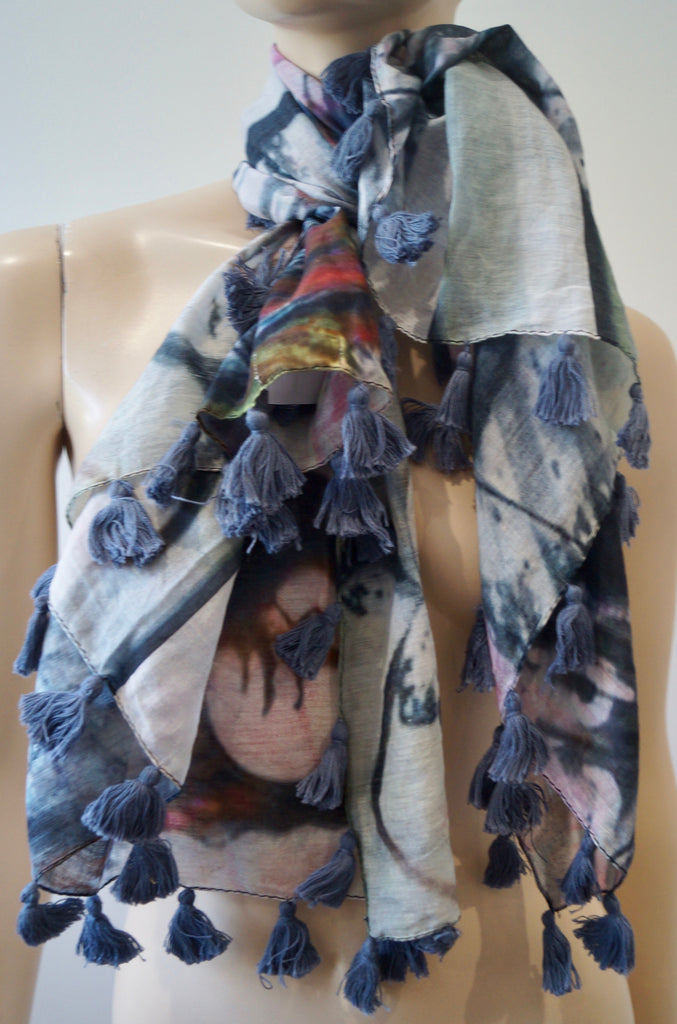 YERSE Women's Multi-Colour 100% Cotton Abstract Print Tassel Trim Scarf