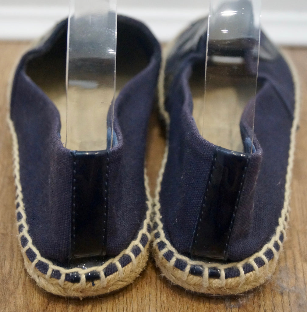 TORY BURCH Navy Blue Canvas & Patent Leather Logo Espadrilles Shoes 8.5; UK5.5