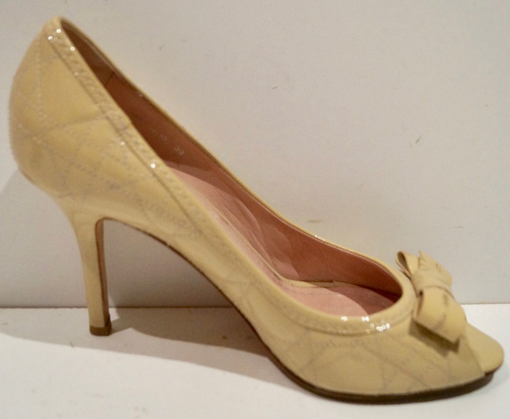 CHRISTIAN DIOR Beige Nude Leather Stitch Detail Peep Toe Stiletto Sandals Shoes