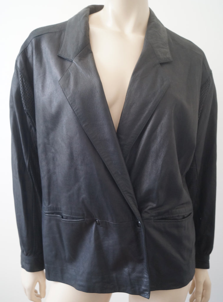 LOUIS FERAUD Black Perforated Detail Double Breasted Casual Leather Jacket L