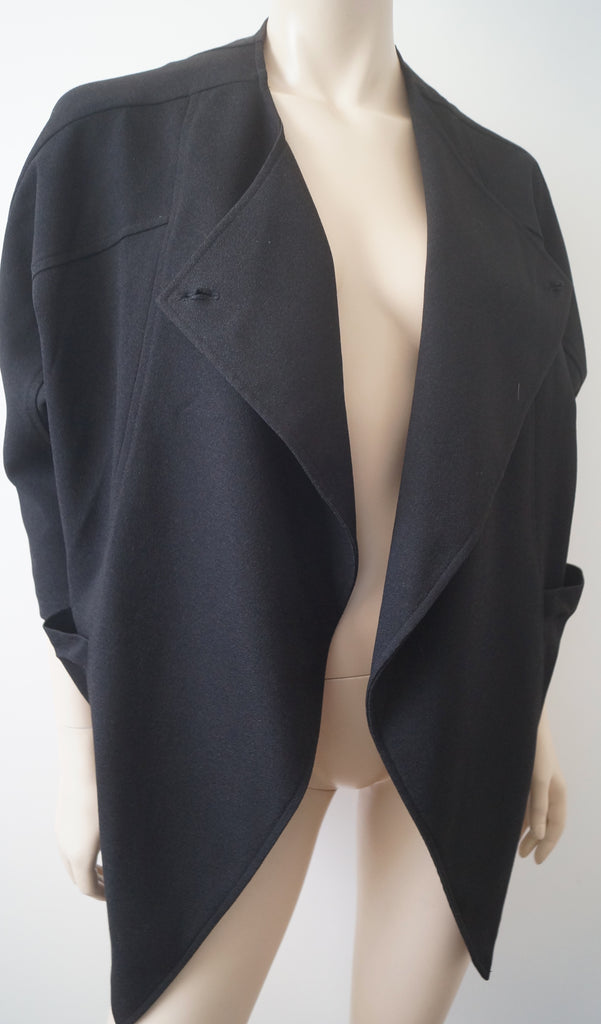 BURBERRY LONDON Black Wool Blend Open Front 3/4 Sleeve Waterfall Jacket M/L
