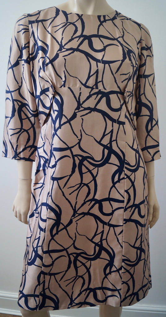 HARVEY NICHOLS KNIGHTSBRIDGE Vintage Pale Pink & Black Abstract Print Dress M