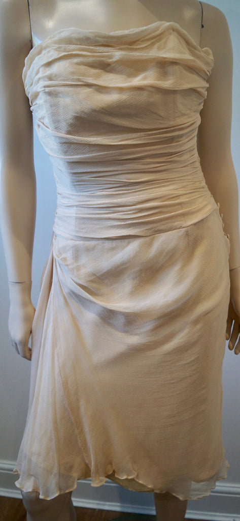 KYRI Cream Silk Pleated Ruched Boned Sleeveless Bodice Evening Dress & Shawl