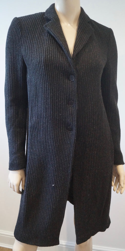 CLAUDIA STRATER Charcoal Grey New Wool Blend Long Length Cardigan Jacket 38; M