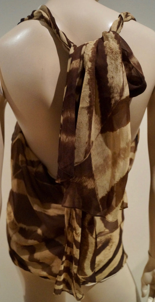 RALPH LAUREN Brown & Beige Silk Chiffon Animal Print Tie Neck Sleeveless Top US8
