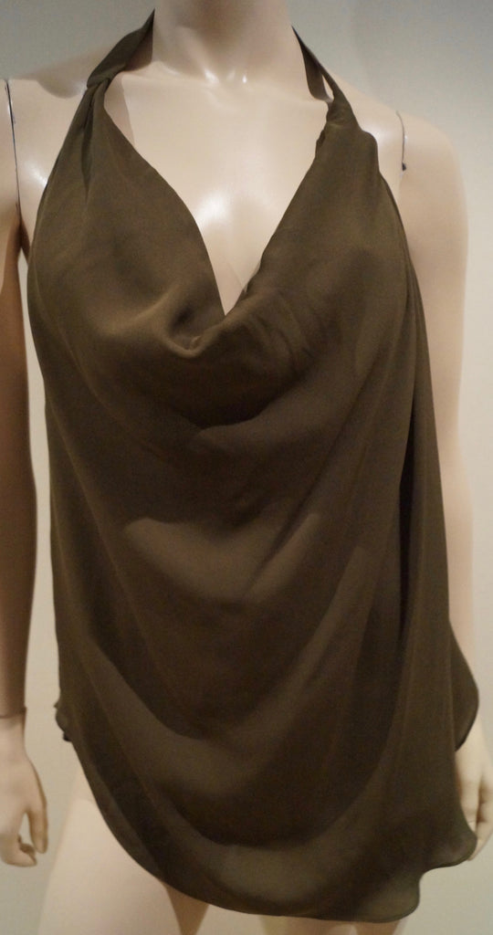 HAUTE HIPPIE Brown 100% Silk Draped V Neck Open Strappy Rear Sleeveless Top Sz:M