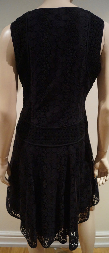 DIANE VON FURSTENBERG Black Lace Sleeveless Fitted Bodice Flare Dress UK12 BNWT