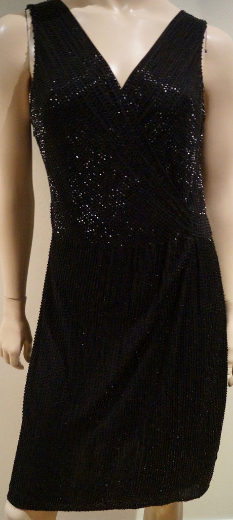 DVF DIANE VON FURSTENBERG Black Silk Beaded V Neckline Sleeveless Evening Dress