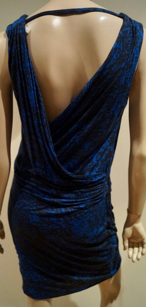HELMUT LANG Blue & Black Animal Print Sleeveless Ruched Draped Rear Jersey Dress