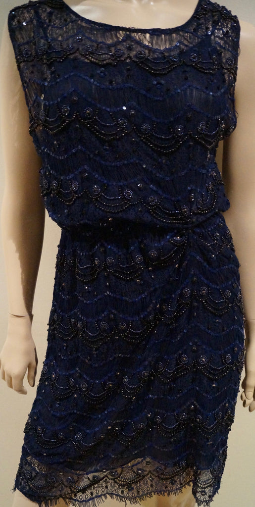 ALICE & OLIVIA Navy Blue Lace Sequin & Bead Embellished Sleeveless Evening Dress