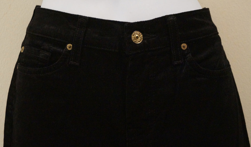 7 FOR ALL MANKIND Black Cotton Blend Cord Corduroy Slim Leg Crop Capri Trousers
