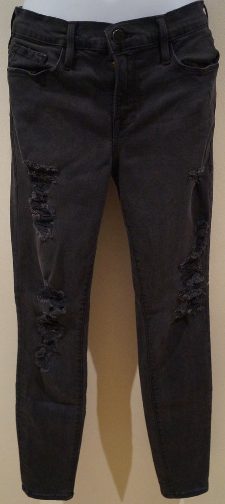 FRAME DENIM Charcoal Grey Cotton Blend Distressed Ripped Slim Skinny Jeans Pants