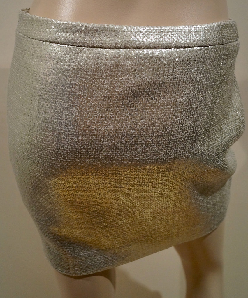 JOSEPH Women's NIKKI Silver Metallic Laminated Evening Short Mini Skirt F38 UK10