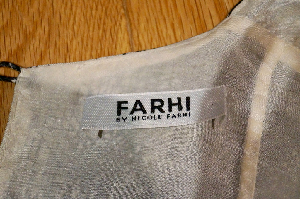 FARHI By NICOLE FARHI Black & Cream Silk V Neck Empire Waist Cap Sleeve Dress UK