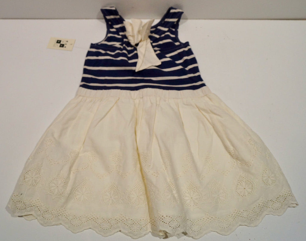MAX STUDIO Girl's Cream & Blue Stripe 100% Cotton Sleeveless Lace Hem Dress 3-4Y