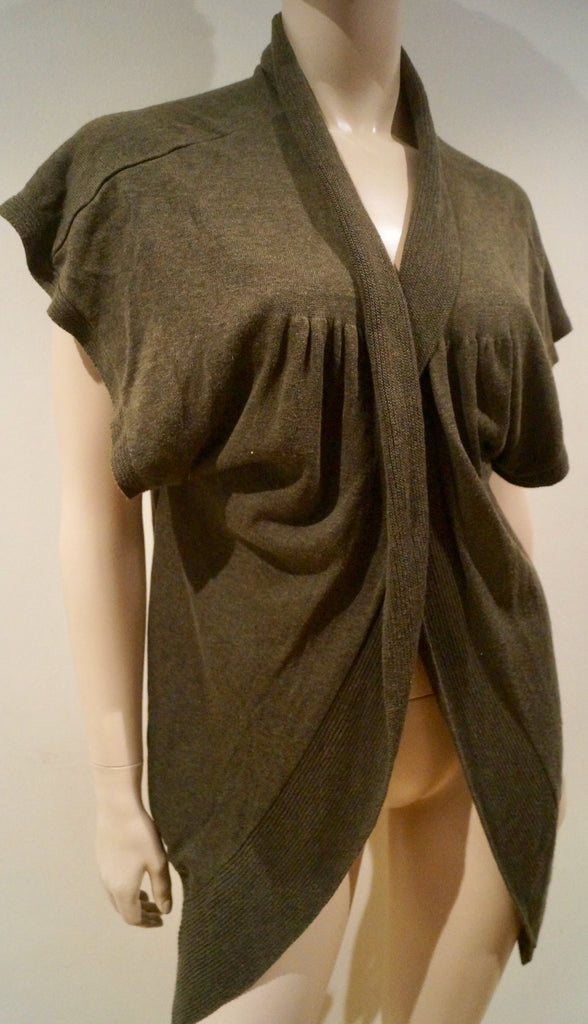 MAX STUDIO Khaki Cotton Blend V Neckline Short Sleeve Pleated Cardigan Top S