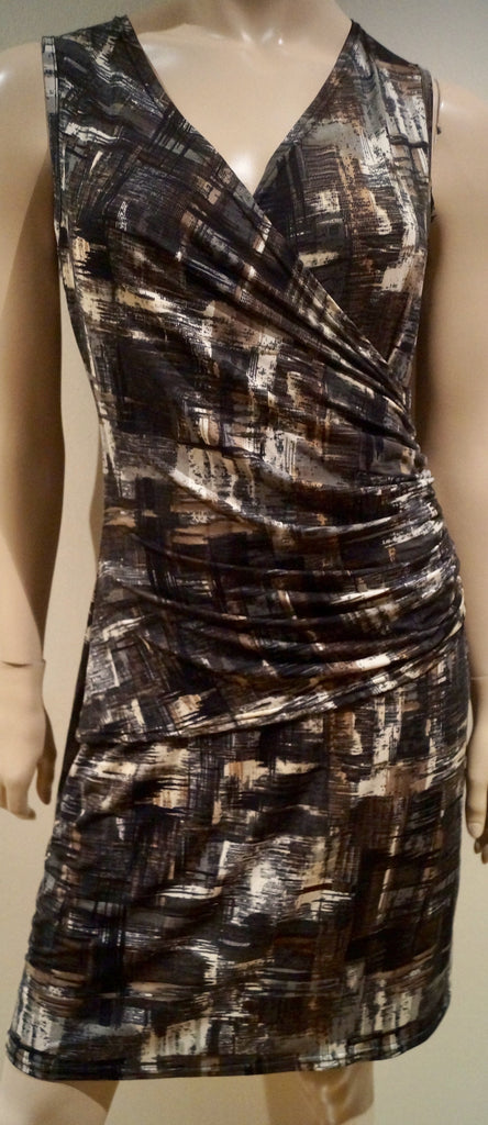 DEBORAH JAMES Women's Grey V Neckline Sleeveless Gathered Waist Dress T2 BNWT