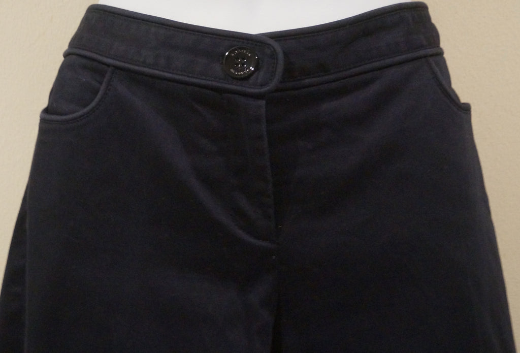 BURBERRY Designer Midnight Blue Cotton Stretch Slim Leg Trousers Pants IT42 UK10