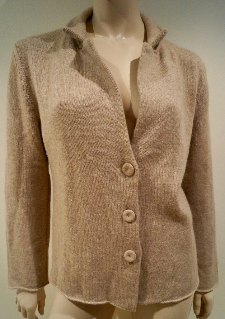 ANNECLAIRE Women's Beige 100% Cashmere Knitwear Casual Cardigan Jacket IT46 UK14