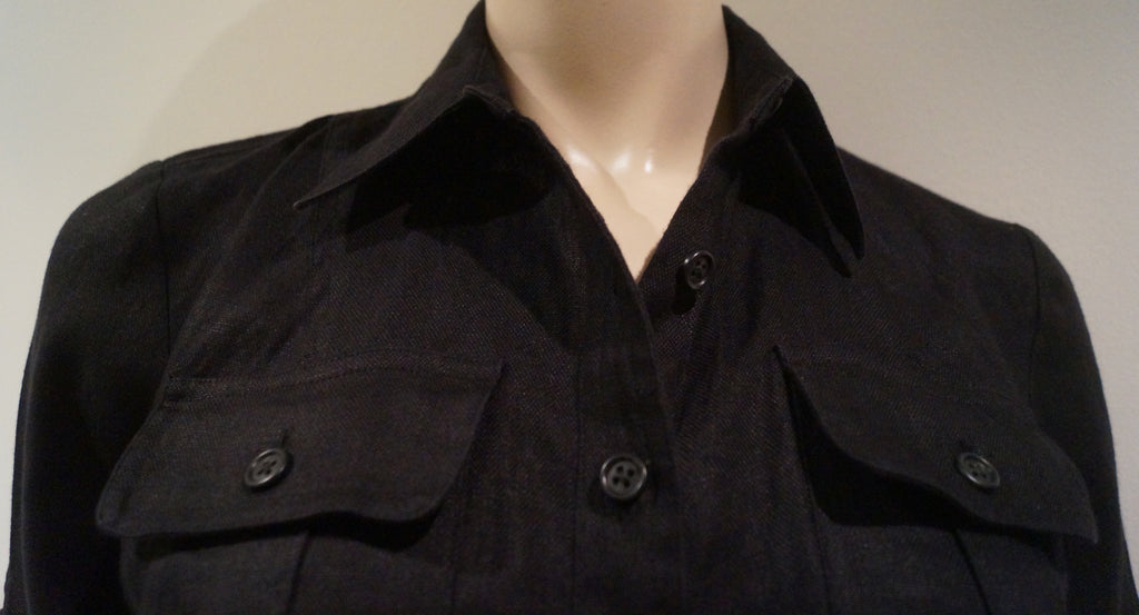 LAUREN RALPH LAUREN Black Linen Collared Button Front 3/4 Sleeve Shirt Dress UK8