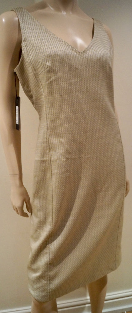 PIAZZA SEMPIONE Cream Beige Sheen Geometric Sleeveless Evening Dress 46 UK14