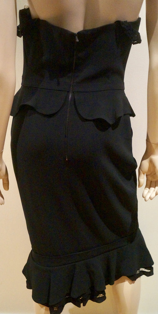 PREEN BY THORNTON BREGAZZI Black & Cream Bandeau Peplum Waist Evening Dress M