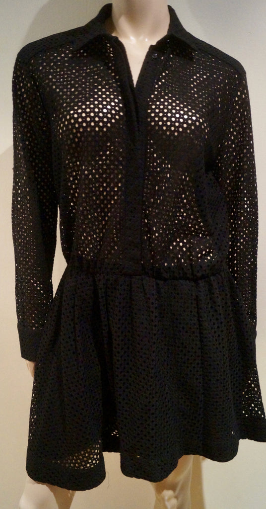 IRO Designer Black Collared Perforated Hole Detail Short Pleated Shirt Dress 40