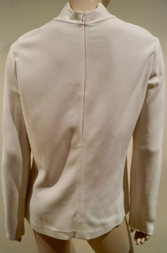 CALVIN KLEIN COLLECTION Winter White High Neck Jersey Stretch Sweater Top 8/44