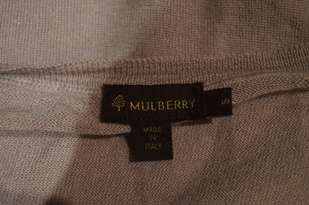 MULBERRY Women's Pale Pink 100% Cashmere V Neck Long Sleeve Jumper Sweater Top S
