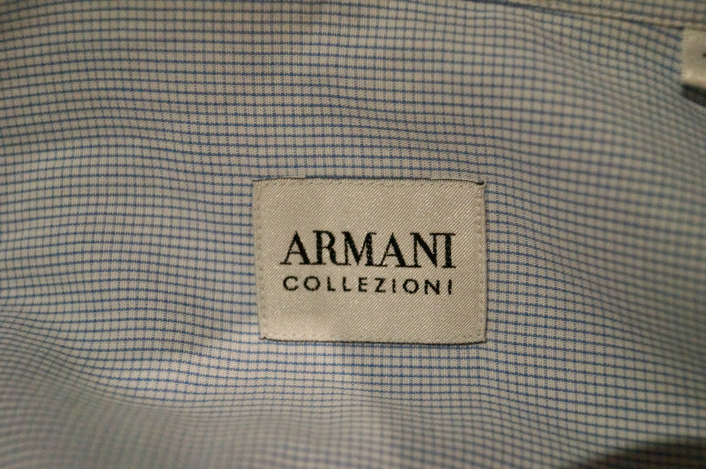 ARMANI COLLEZIONI Menswear Blue Cotton Small Check Formal Business Shirt 41 / 16