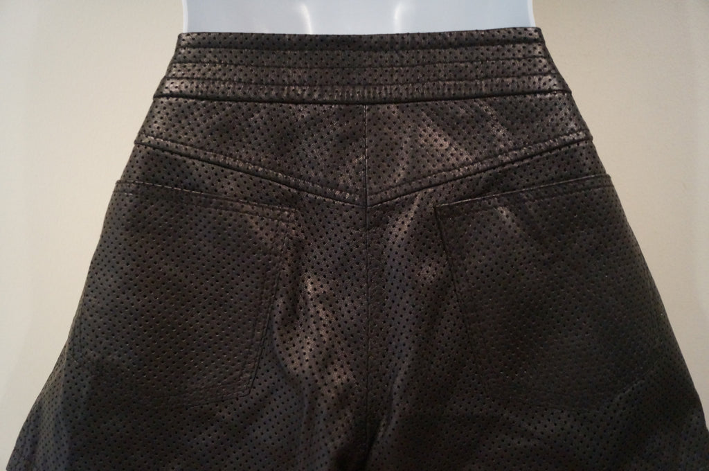EDUN Designer Black Perforated Leather Buckle Waist Shorts US 2 /26 UK6 BNWT