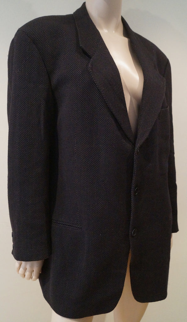 GIORGIO ARMANI COLLEZIONI Menswear Black & Brown Single Breasted Blazer Jacket