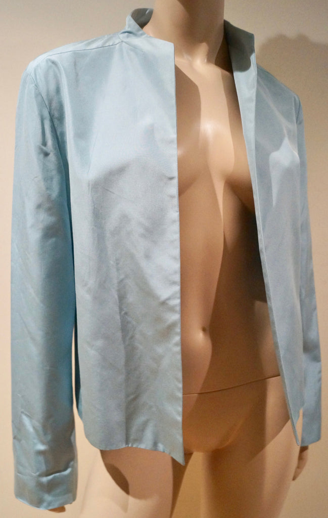 JIL SANDER Women's Pale Blue Sheen 100% Silk Open Front Blazer Jacket IT40; UK8
