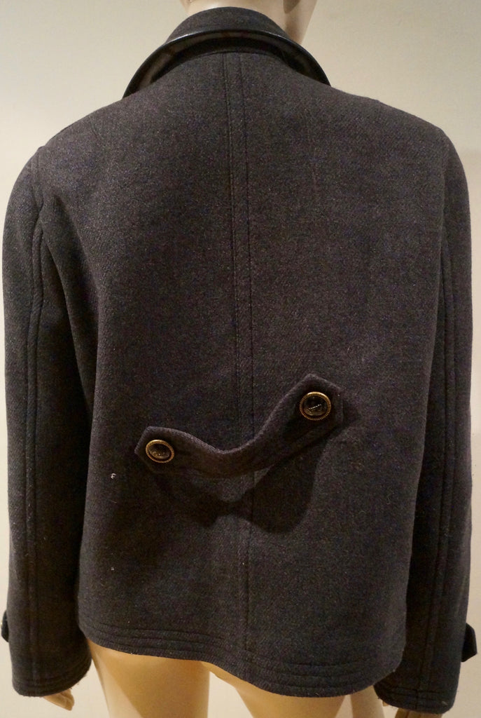 COACH LEATHERWARE Charcoal Grey Wool Blend Leather Trim Outdoor Blazer Jacket L