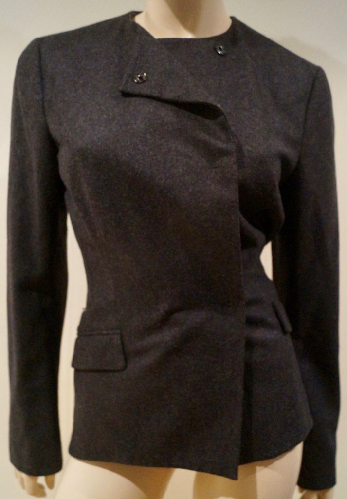 VIONNET PARIS Charcoal Grey Wool Double Breasted Formal Fitted Blazer Jacket 12