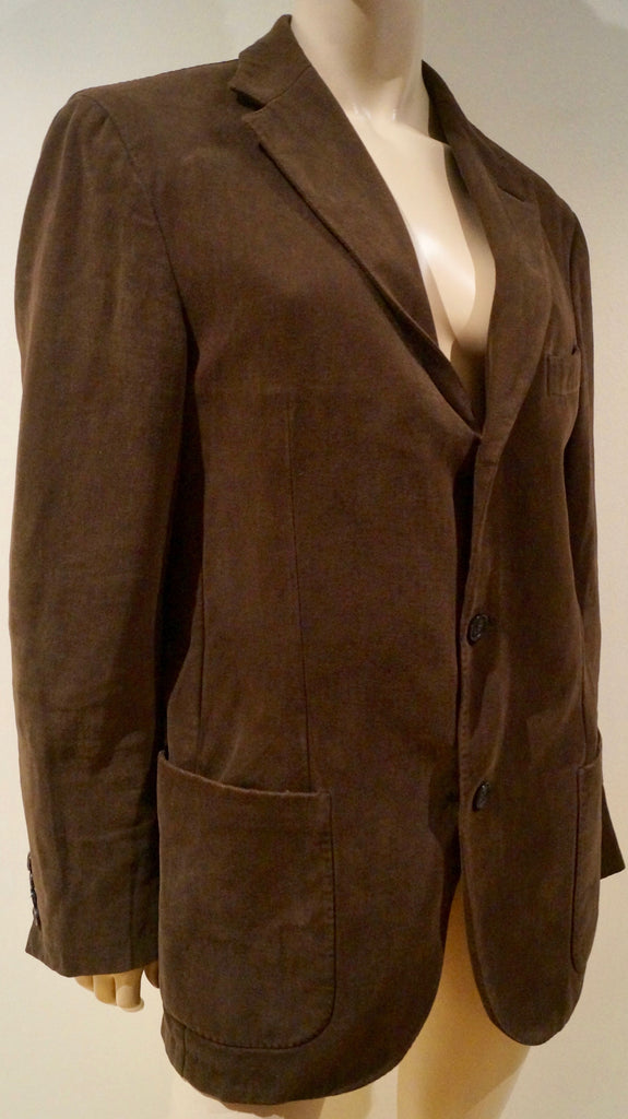 ERMENEGILDO ZEGNA Men's Brown Cotton Single Breasted Casual Blazer Jacket 52R