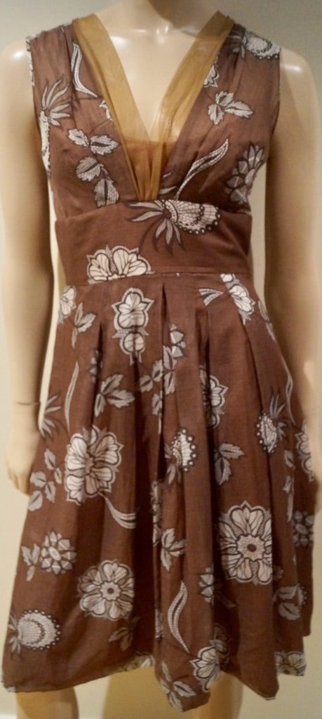 SPORTMAX Brown & Cream Floral Print V Neck Sleeveless Empire Waist Pleated Dress