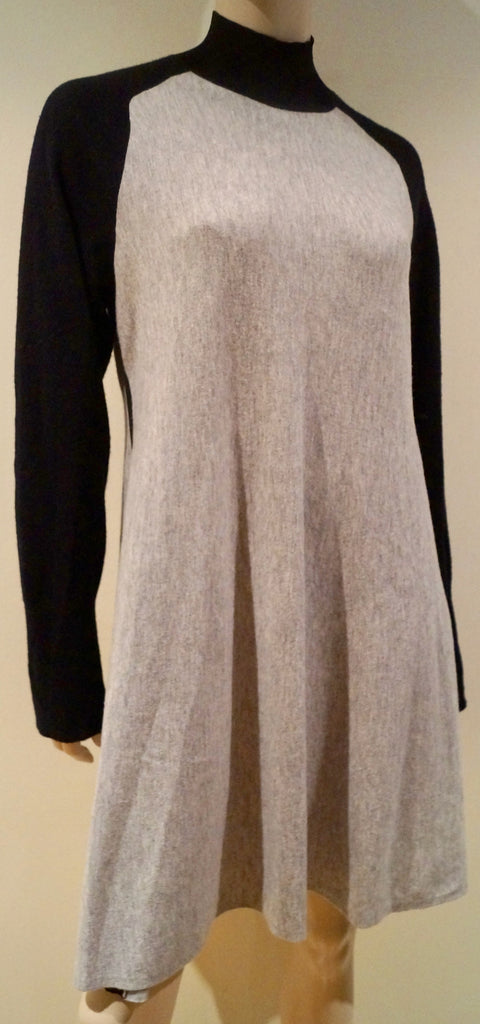 RAG & BONE JEAN Grey & Black Merino Wool 2 Tone Francine Jumper Sweater Dress L