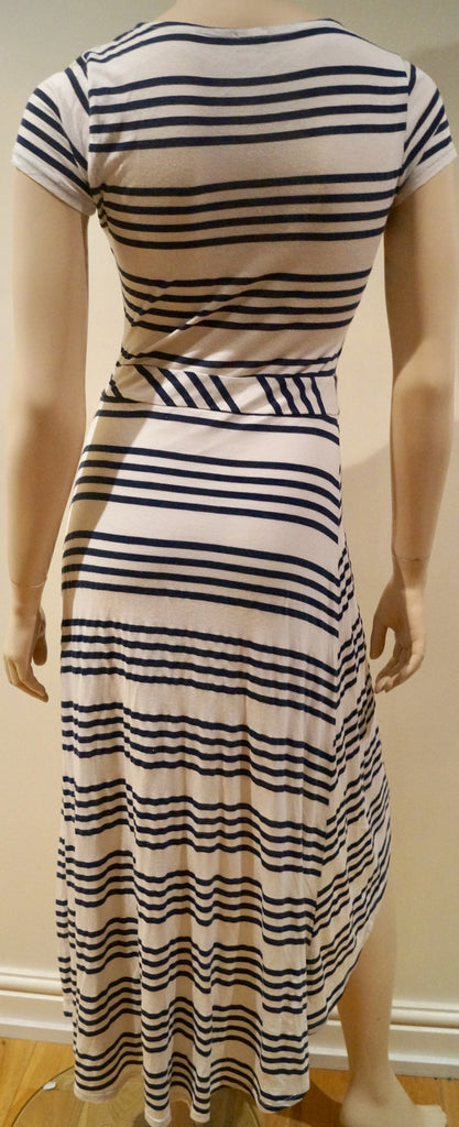 SPLENDID Cream Black Stripe Cotton Blend Short Sleeve Crossover Skirt Midi Dress