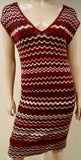 MISSONI LINDEX Burgundy Cream Pink Metallic Thread Short Sleeve Ribbed Dress S