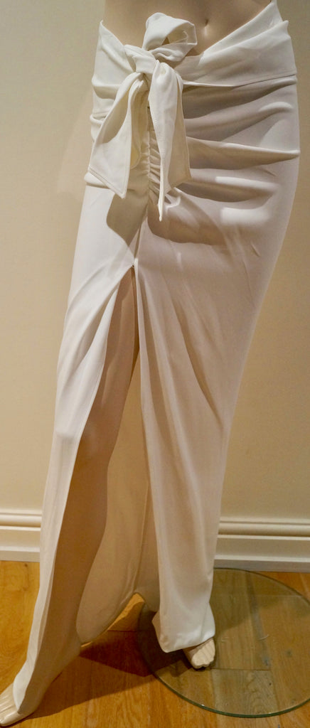 ERMANNO SCERVINO White Tie Pleated Waist Front Vent Fitted Maxi Skirt IT40 UK8