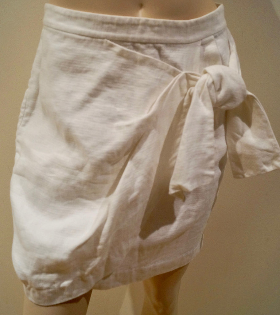3.1 PHILLIP LIM Winter White 100% Linen Crossover Bow Tie Front Short Skirt US6