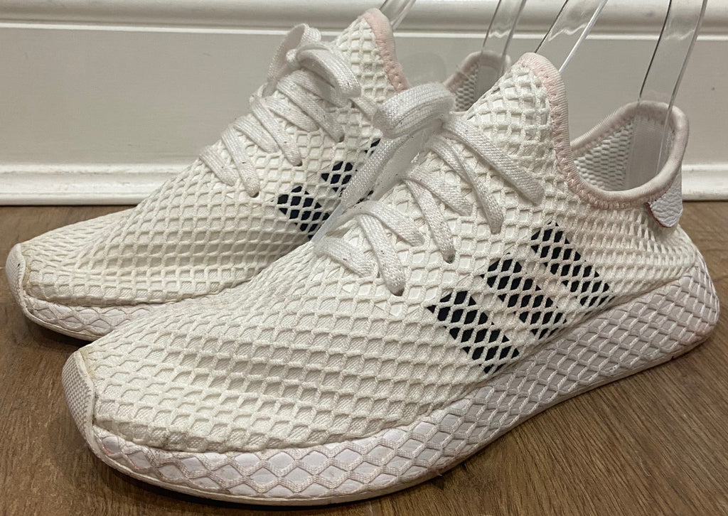 ADIDAS White Fabric Net Mesh Lace Up Chunky Sole Branded Sneakers Trainers UK8