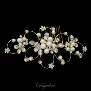 Diamonte Pearl Hair Comb Gold