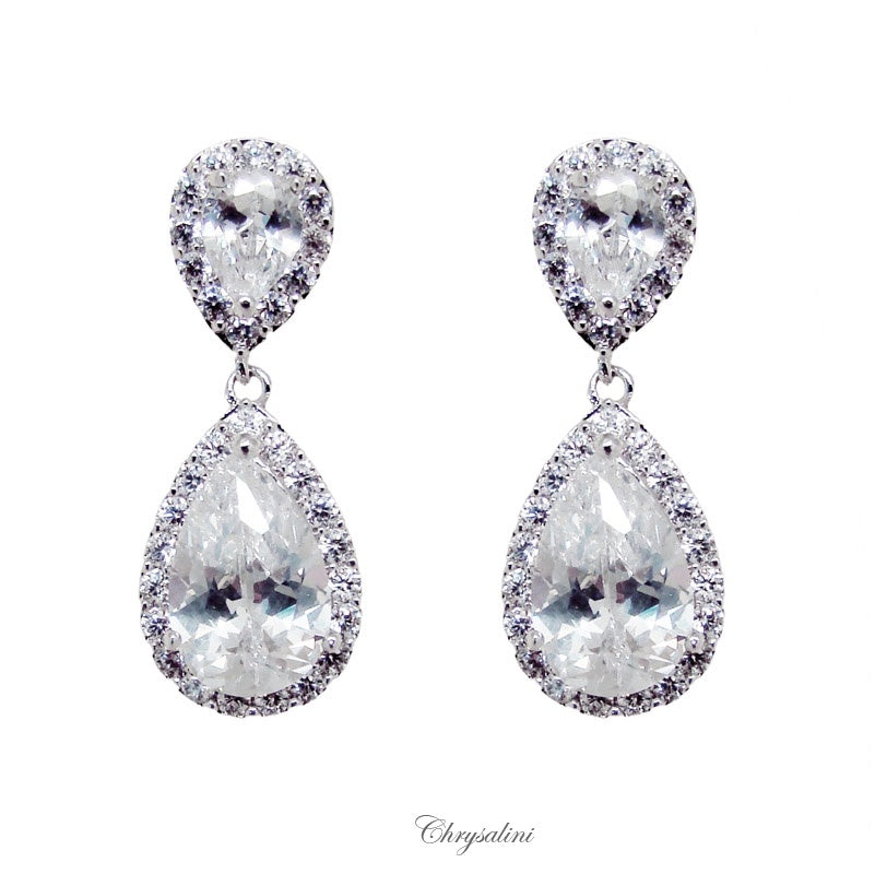 CZ Earrings Round and Teardrop
