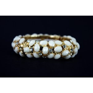 Ivory Gold Stretchy Bracelet