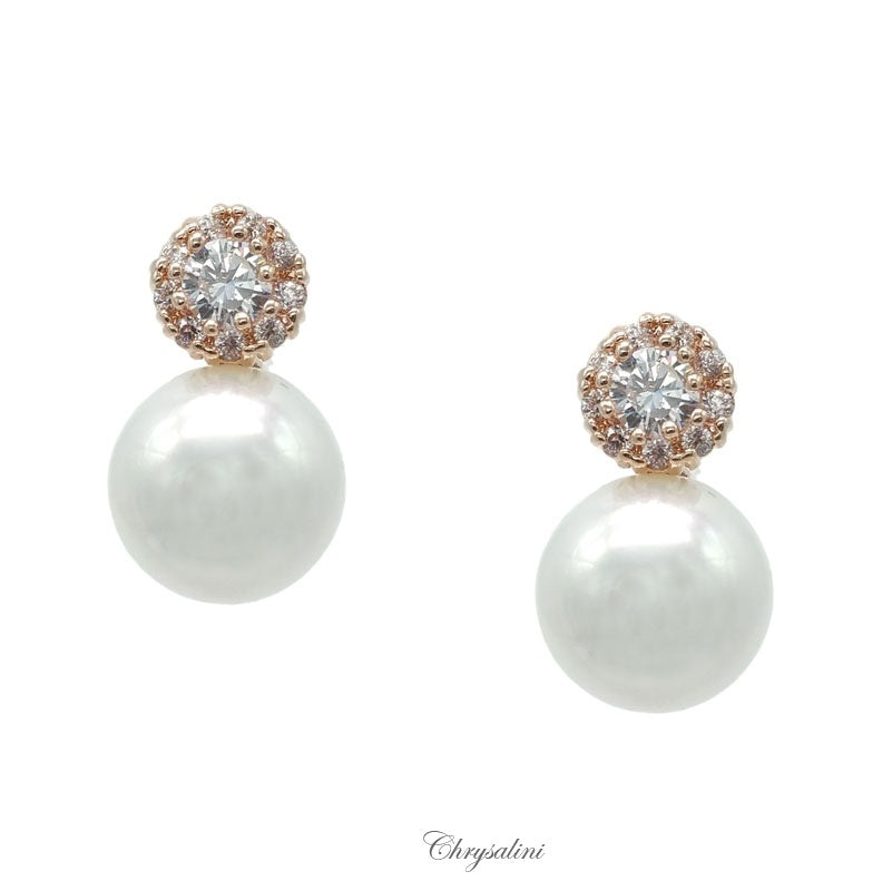 CZ Pearl Earrings