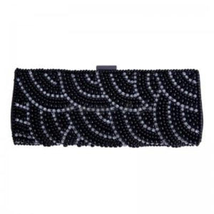 Long Black Beaded Clutch