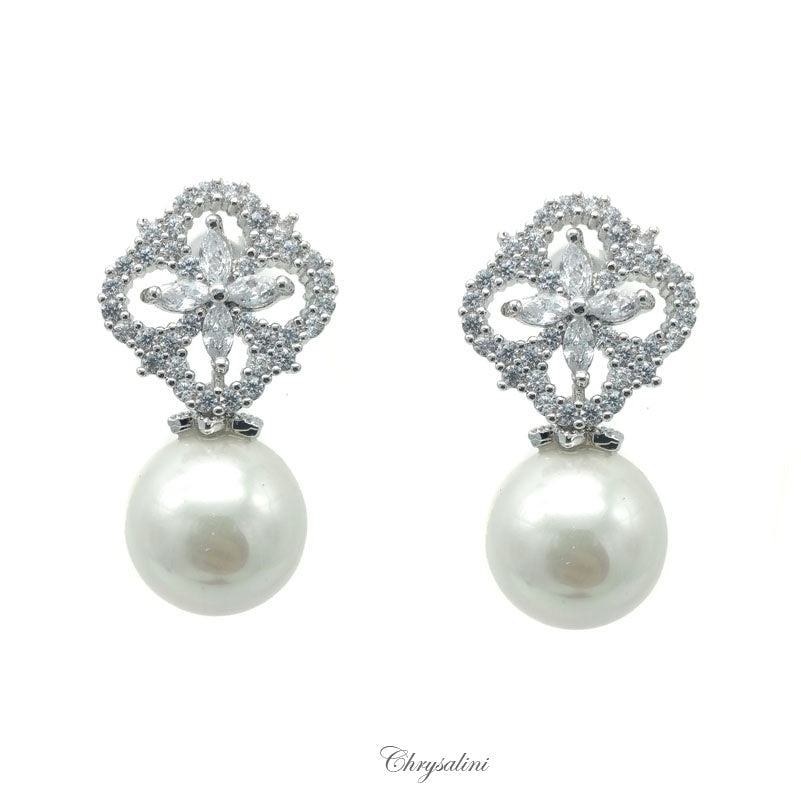Pearl CZ Earrings